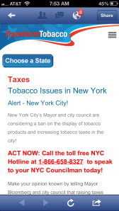 Facebook Ad linking to Transform Tobacco website