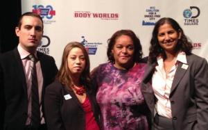 Body Worlds staff with Michele Bonan, ACS CAN; Marie Wilkins, and Sheelah Feinberg, the Coalition
