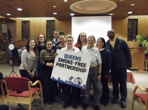 Queens Smoke-Free Partnership and community partners at a smoke-free housing info session.