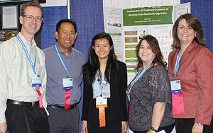 First place winner of 2014 Addiction Science Award (l-r): Judges and NIDA grantees Dr. Keith Heinzerling and Dr. Mitchell Wong, UCLA; winner Lily Wei Lee; Judge and NIDA grantee Dr. Bridget Freisthler, UCLA; and NIDA's Dr. Sheri Grabus